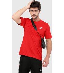 camiseta rojo-blanco adidas performance essentials logo