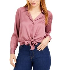 bar iii tie-front satin top, created for macy's