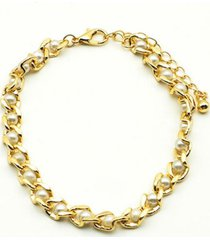 pulsera cadena perlas dorado i-d