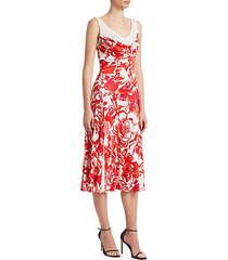 rose print liquid viscose jersey dress