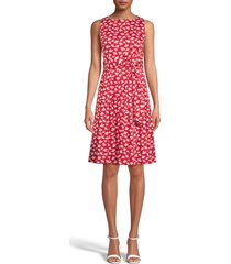 women's anne klein floral print fit & flare dress, size 10 - red