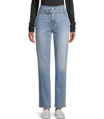 half-belted paperbag straight-leg jeans