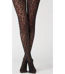 calzedonia animal pattern 30 denier sheer tights woman black size xl