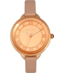 bertha quartz madison collection light pink and rose gold leather watch 36mm