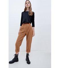 motivi pantaloni carrot con cintura in velluto donna marrone