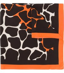 linda farrow animal print scarf - brown