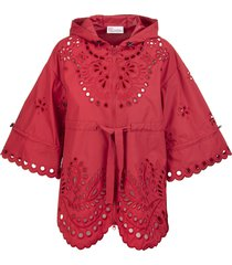cherry-red floral embroidery hooded jacket red valentino