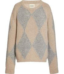 beige and grey daisy pullover sweater