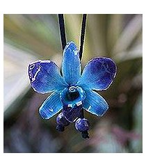 natural orchid and sodalite long necklace, 'midnight blue' (thailand)
