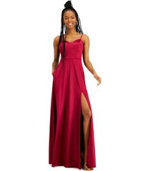 city studios juniors' side-slit satin gown with pockets