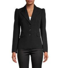 michael kors collection women's puff-shoulder wool blazer - black - size 2