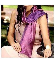 silk scarf, 'violet duality' (thailand)