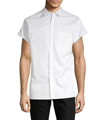 uni-sleeve cotton button-down shirt