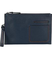 ermenegildo zegna multi-pocket pouch bag - blue
