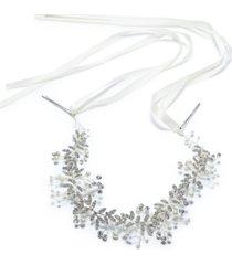 inc silver-tone crystal & imitation pearl ribbon headband, created for macy's