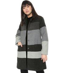 casaco sobretudo malwee listrado cinza - kanui
