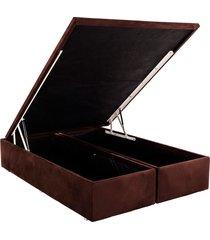base cama box baú camurça marrom king 186x198x39 ortobom - tricae