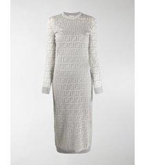 fendi ff motif midi dress