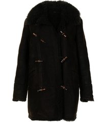 gucci pre-owned shearling lapel toggle fastening coat - brown