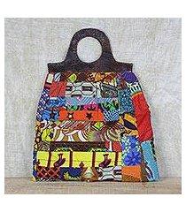 leather accent cotton handle handbag, 'patchwork beauty' (ghana)