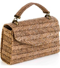 bolsa a clutch palha brown