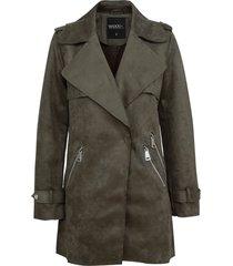 chaqueta wados m/l suede verde - calce regular