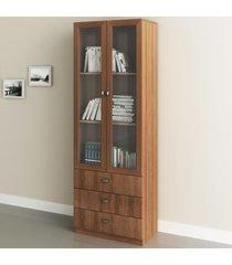 armário para escritório 2 portas 3 gavetas amendoa  me4114 - tecno mobili