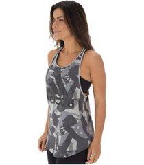 camiseta regata adidas sid tank aop - feminina - cinza/preto