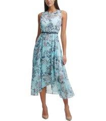 tommy hilfiger chiffon-floral midi dress