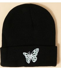 embroidered butterfly pattern elastic knitted hat