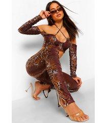 geplooide slangenprint broek met split, chocolate