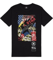 converse camiseta collage graphic black