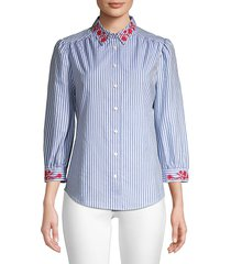 draper james women's embroidered striped button-down shirt - blue - size 0