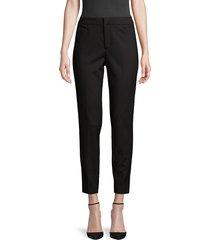 saks fifth avenue women's high-rise cotton-blend pants - black - size 4
