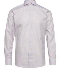checked cotton-tencel shirt skjorta business multi/mönstrad eton