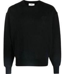 ami alexandre mattiussi black cotton sweatshirt