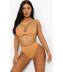 mix & match gekreukeld hoog uitgesneden string bikini broekje, camel
