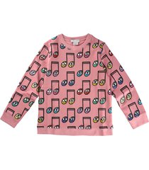 stella mccartney pink scoop neck sweatshirt with musical notes print
