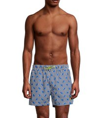 boss hugo boss men's palmfish stripe & leaf-print swim shorts - blue - size xl