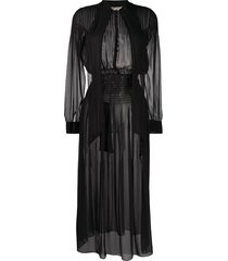 saint laurent smocked waist sheer dress - black