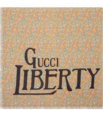 gucci liberty floral modal silk shawl - pink