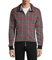 hundstooth plaid zip track jacket