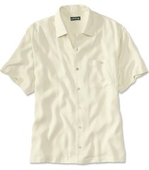 silk twill havana short-sleeved shirt, large