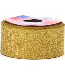 fita de cetim com lurex 38mm 10m dourado