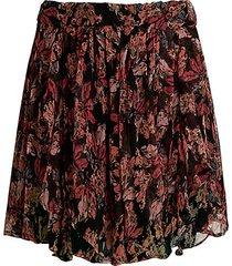 spin high-waist floral ruffle skirt