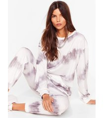 womens time to relax tie dye joggers lounge set - grey