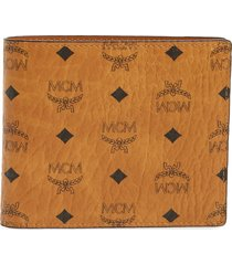 men's mcm logo coated canvas & leather wallet - brown