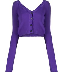 nº21 fine-knit cropped cardigan - purple