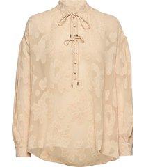 iris jacquard blouse blouse lange mouwen crème mos mosh