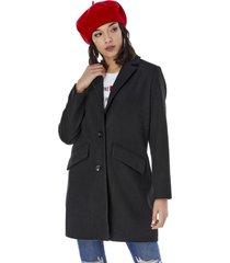 abrigo paño largo mujer negro corona